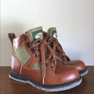 Vintage LL Bean Fly Fishing Boots 6 Brown Leather